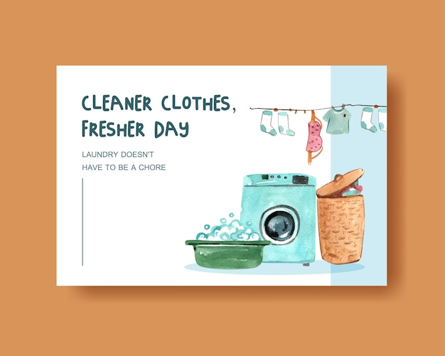 Cleaner clothes, washing machine watercolor illustration
