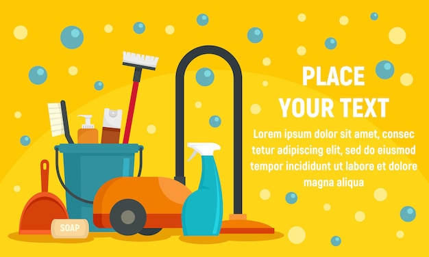 Cleaner equipment banner, flat style