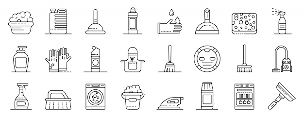 Cleaner equipment icons set, outline style