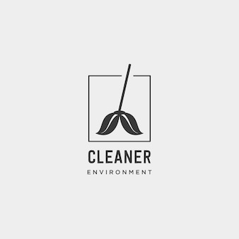 Cleaner green environment simple logo template vector illustration - vector