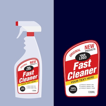 Cleaner, laundry detergent bottle label, toilet or sink cleaner, creative package banner design template.