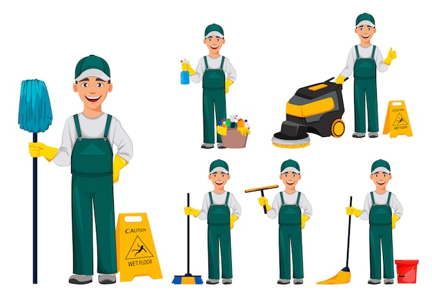 Cleaner man cartoon character
