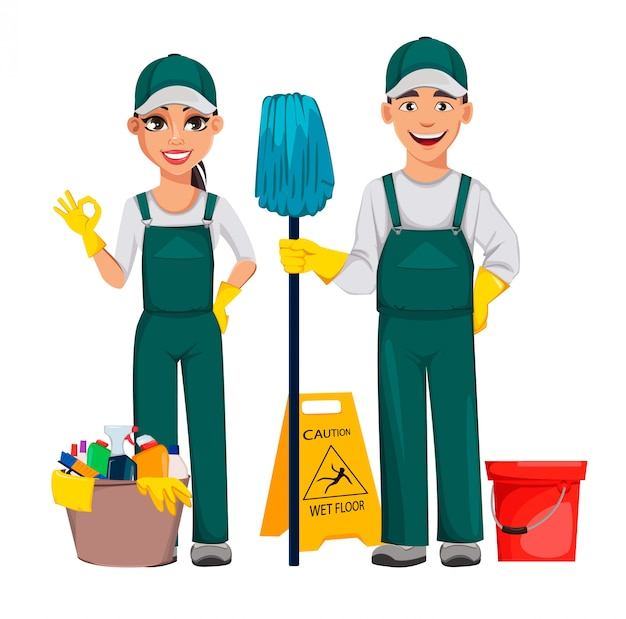 Cleaner man and cleaner woman