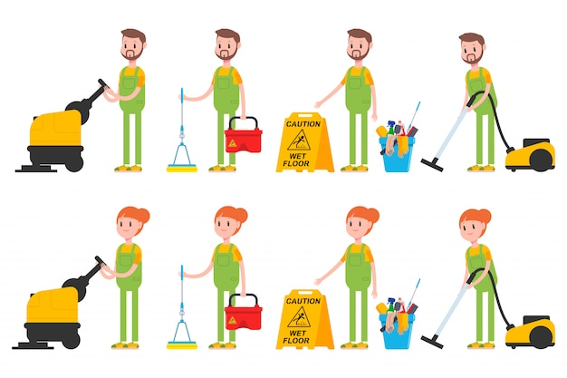 Cleaner man and woman characters set .