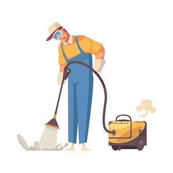 Cleaner mopping floor with professional equipment flat icon on white