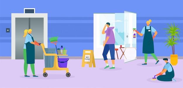 청소기 서비스 일러스트입니다. 만화 회사에 대 한 균일 한 작업 그룹 사람들을 청소 전문 남자 여자 노동자. 사무실 바닥, 청소 및 위생에 장비를 가진 사람.