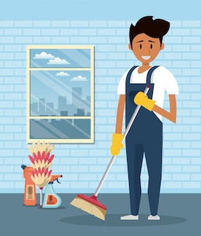 Cleaner with cleaning products housekeeping service