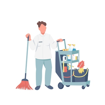 Cleaner with janitorial supplies flat color faceless character. hotel maid in uniform isolated cartoon illustration for web graphic design and animation. female janitor with cleaning products