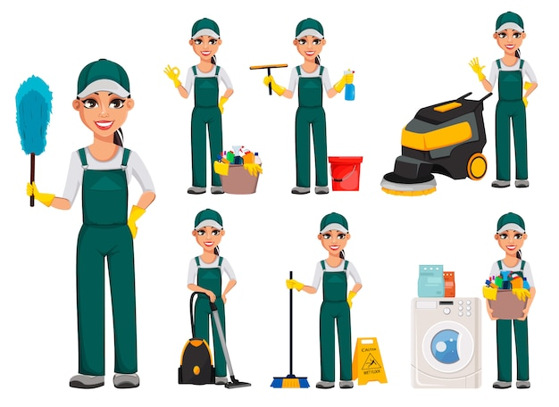 Cleaner woman, set of seven poses