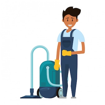 Cleaner worker with cleaning products and equipment