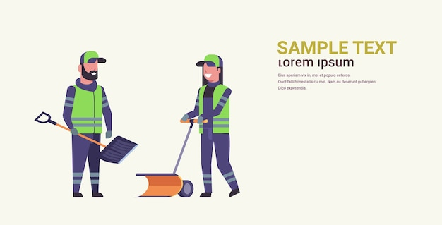 Cleaners couple using plastic shovel and handle snowplough snow removal winter street cleaning service concept man woman in uniform working together flat full length horizontal copy space vector illus