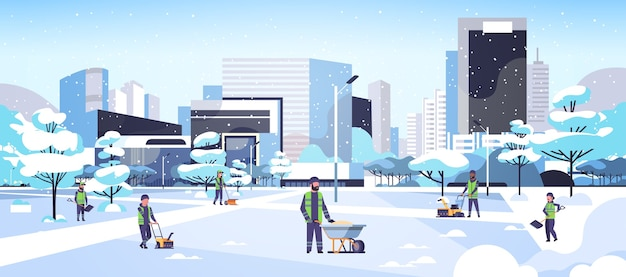 다른 장비 및 도구를 사용하여 청소기 팀 제복 청소 겨울 눈 덮인 공원 도시 평면 전체 길이 수평 벡터 일러스트 레이 션에 눈 제거 개념 남성 여성