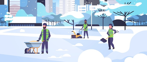 다른 장비와 도구를 사용하여 청소기 팀 제복 청소 겨울 눈 덮인 공원 도시 평면 전체 길이 가로 벡터 일러스트 레이 션에 눈 제거 개념 혼합 인종 남성 여성