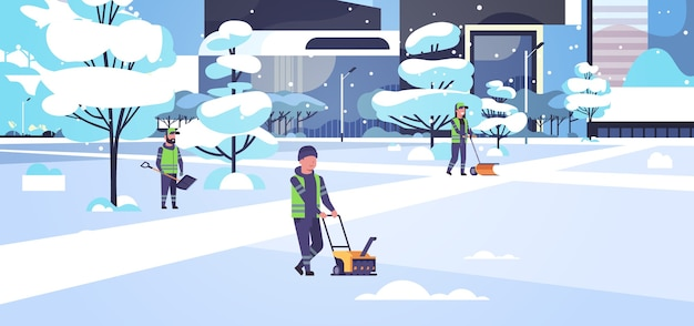 Cleaners team using different equipment and tools snow removal concept men women in uniform cleaning winter snowy park cityscape flat full length horizontal vector illustration