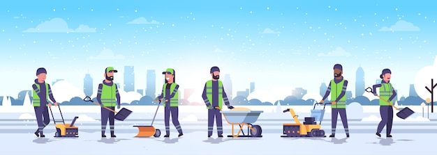 Cleaners team using different equipment and tools snow removal winter street cleaning service concept men women in uniform urban snowy park landscape flat full length horizontal vector illu