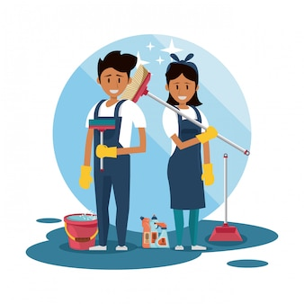 Cleaners with cleaning products housekeeping service