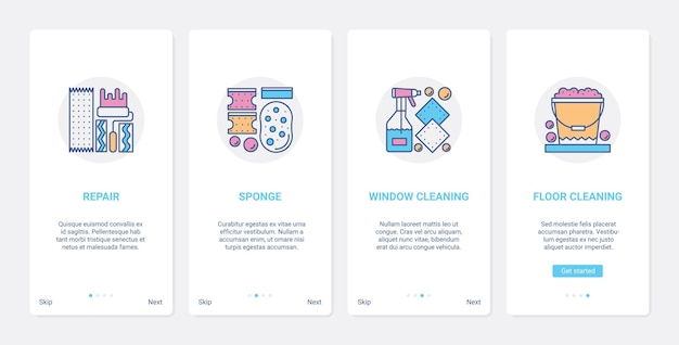 Cleaning accessories tools ux ui onboarding mobile app page screen set with line cleaner.