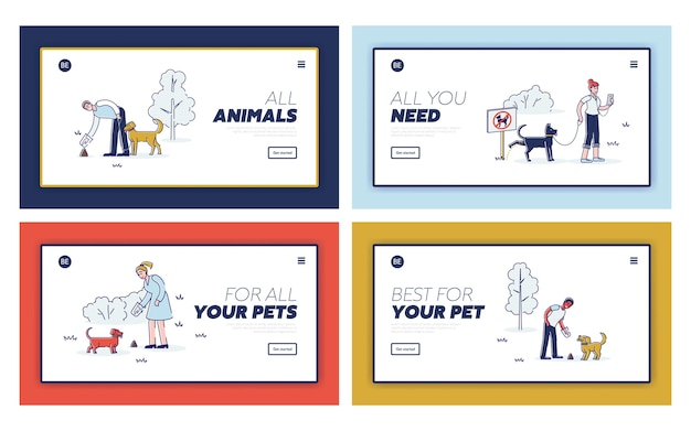 Cleaning after dog concept for set of template landing pages