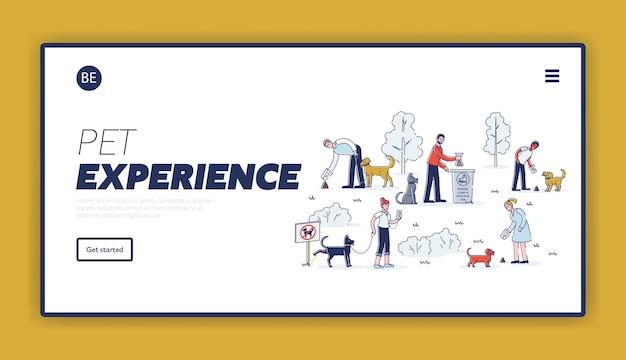 Cleaning after dog landing page template with set of cartoon pet owners picking up waste during walk