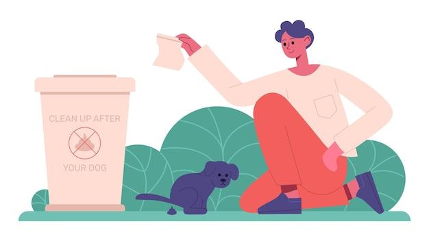 Уборка за собакой. владелец домашнего животного убирает после собаки, содержание домашних животных Premium векторы
