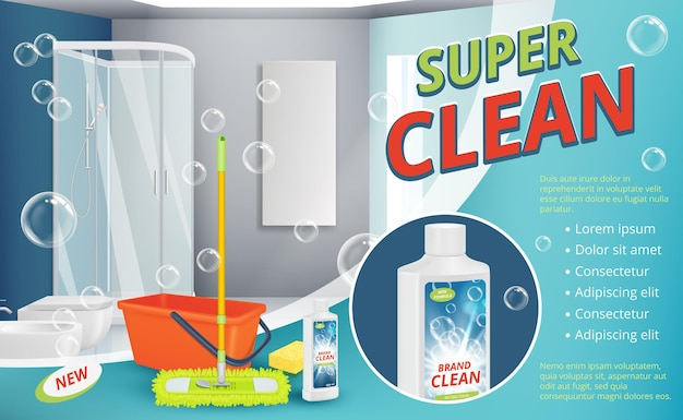 Cleaning agent. advertizing placard power cleaning spray for surface shower room sanitation dust equipment  realistic background.