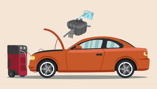 Cleaning air conditioner in orange car.