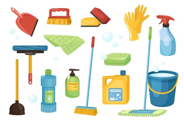 クリーニングと洗剤のデザイン要素セット。スクープ、ブラシ、スポンジ、手袋、スプレー、石鹸、モップ、バケツ、プランジャー、衛生ツールのコレクション。ベクトルイラストフラット漫画スタイルでオブジェクトを分離しました