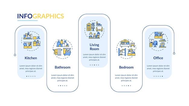 クリーニングエリアのインフォグラフィックテンプレート。家庭やオフィスのプレゼンテーションデザイン要素のクリーニングサービス。 5つのステップによるデータの視覚化。タイムラインチャートを処理します。線形アイコンのワークフローレイアウト