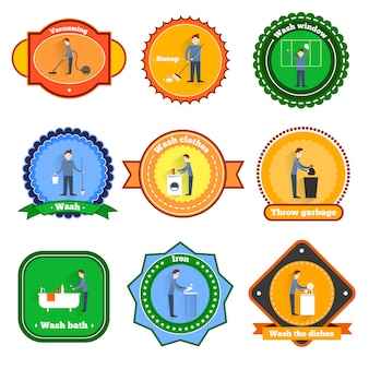 Cleaning badges set with vacuuming sweep window wash isolated vector illustration