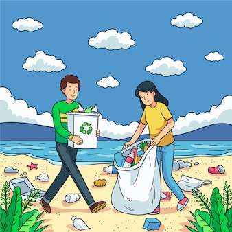 Cleaning the beach charity social concept
