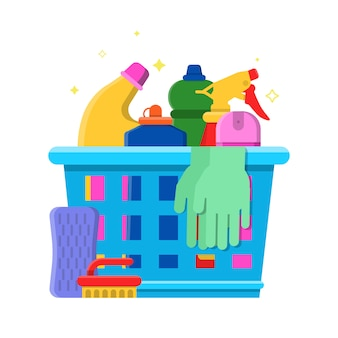 Cleaning bottles basket. detergent laundry service chemical items freshener tools vector flat illustration
