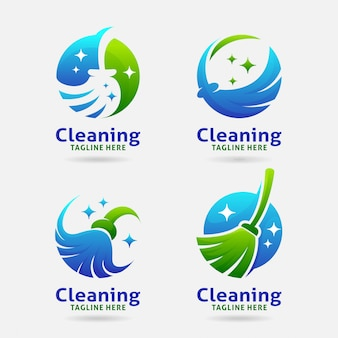 Cleaning broom logo design