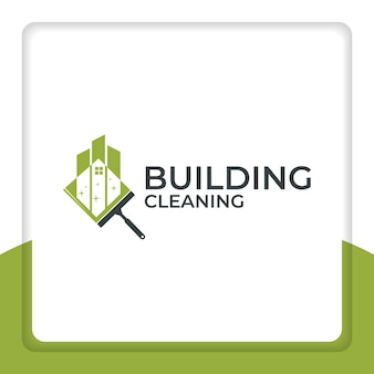 Cleaning building logo design vector clean building city cleaner