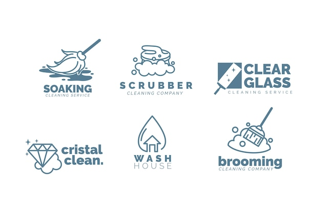 청소 사업 로고 템플릿 세트