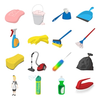 Cleaning cartoon icons set isolated