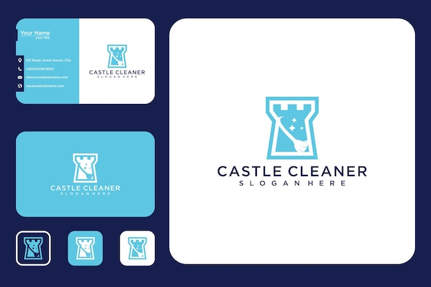 城のロゴデザインと名刺のクリーニング