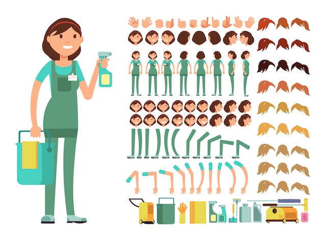 Cleaning company employee. woman cleaner vector character. creation constructor with big set of body