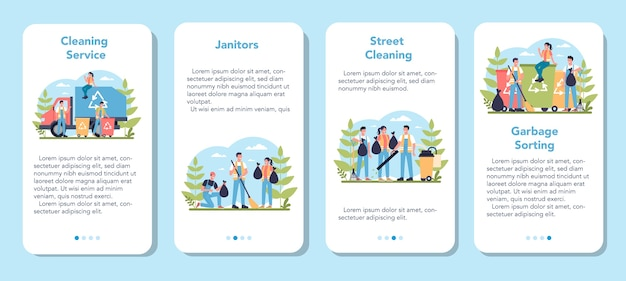 Cleaning company or janitor service mobile application banner set. cleaning staff with special equipment. janitor workers cleaning street and sorting garbage.