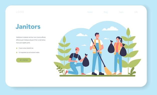 Cleaning company or janitor service web banner or landing page