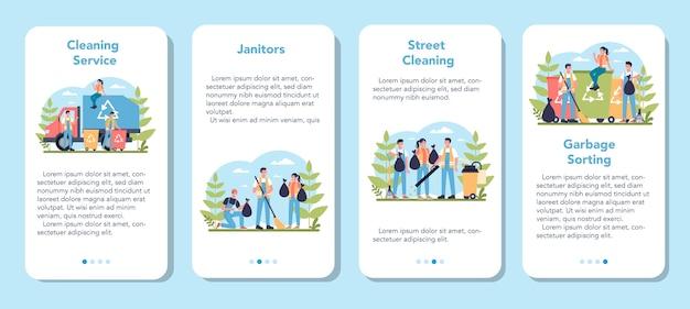 清掃会社または用務員サービスのモバイルアプリケーションバナーセット。特別な設備を備えた清掃スタッフ。管理人の労働者が通りを掃除し、ゴミを分類します。