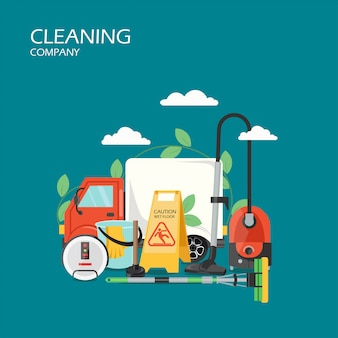 Cleaning company services  flat style design illustration