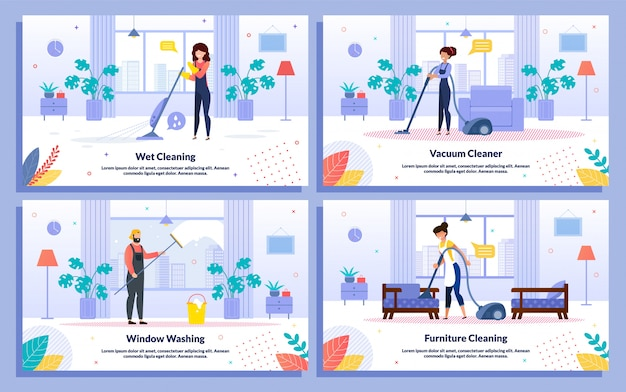 Cleaning company services flat vector banners set
