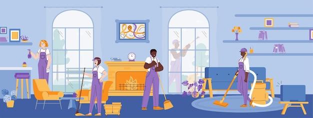 Команда клининговой компании в униформе, работающая в помещении, мультяшная квартира