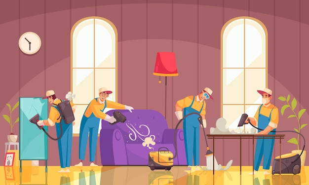 Cleaning composition with flat characters of cleaners in uniform working in domestic scenery with luxury furniture