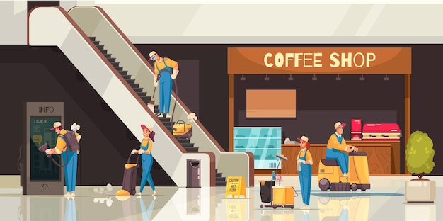Cleaning composition with professional team of cleaners doing job in shopping mall with coffee shop displays
