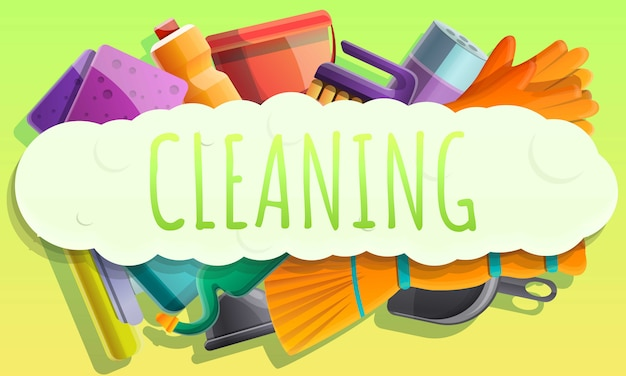 Cleaning concept banner, cartoon style
