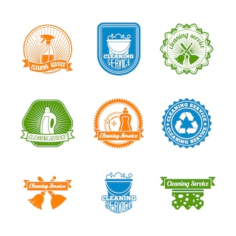 Cleaning dusting and sanitation color labels set of spray cleaner bottle  vector illustration