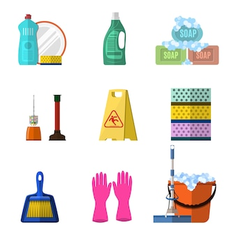 Cleaning elements set with mop soap and gloves, red plastic bucket, cleaning products in bottle for floor and glass.