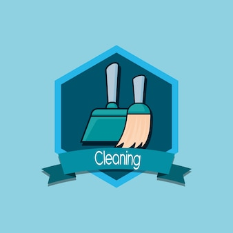 Cleaning emblem with broom and dustpan icon