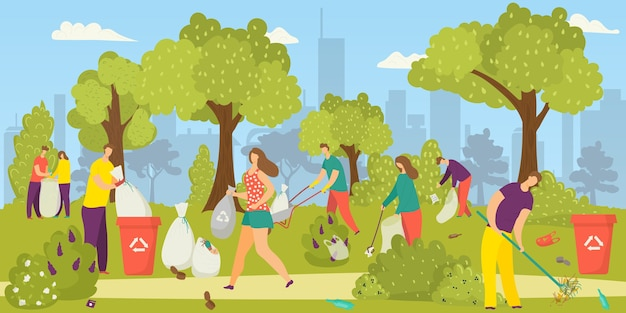 Cleaning environment, team of volunteers picking up garbage, litter in park into trash bags,  illustration. social volunteering for nature. enviromental ecology, environment-oriented charity.